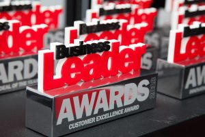 Business Leader Awards trophies